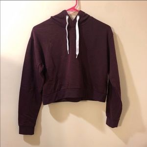 H&M casual drawstring hooded burgundy sweatshirt.